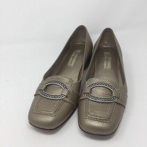 Brighton Footwear Mules Gold/Silver Buckle Sz 7.5